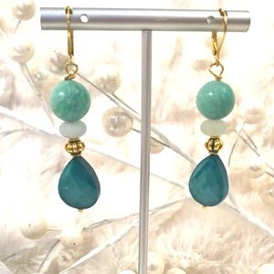Handmade GF Earrings Lever back Russian Amazonite